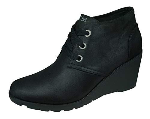 Skechers Bobs Tumble Weed Goin West Damen Stiefel mit Keilabsatz, Schwarz - Schwarz - Größe: 41 EU