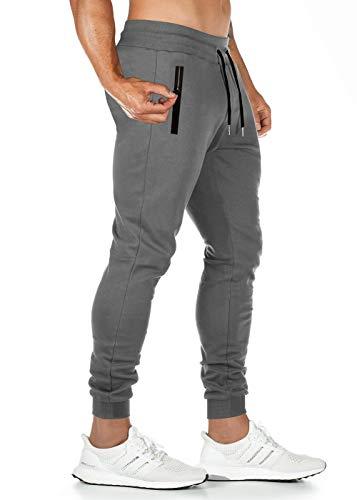 Pantalones de deporte para hombre, pantalones de chándal cargo pantalones de chándal, pantalones de chándal, para tiempo libre, correr, a rayas, bajos estrechos Z1 gris oscuro. M