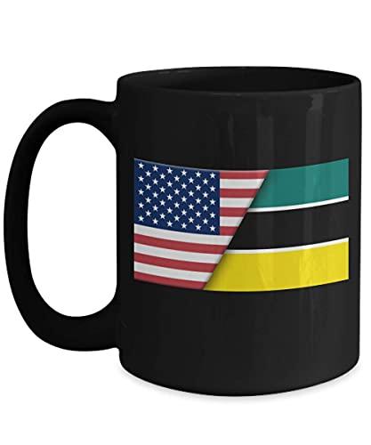 N\A USA Mosambik Flagge 11oz Black Coffee Mug Immigrant Dual Citizen Geschenk