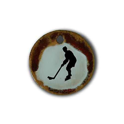 """Muy bonito colgante de cerámica """"hockey sobre hielo"""" jaspeado en rojo;"""