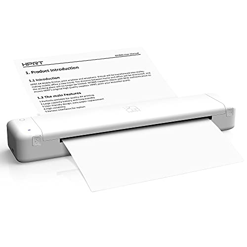 Thermal Printer HPRT - MT800Q Portable Mini Printer, Wireless Printer for iPhone and Computer, The Best Small Printer Support 216mm Width A4 Paper, Home Use, Office, Travel and Mobile Printer