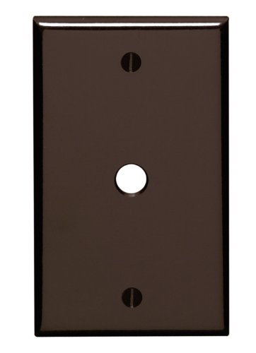 Leviton 85013 1-Gang .406 Inch Hole Device Telephone/Cable Wallplate, Standard Size, Thermoset, Box Mount, Brown