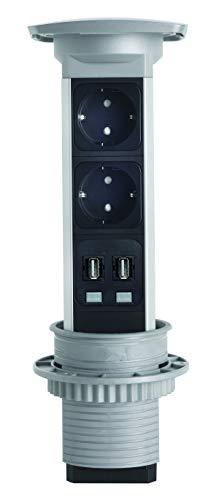 Kopp 939616015 ASA Einbau-Steckdosenleiste, 2-fach + 2 USB