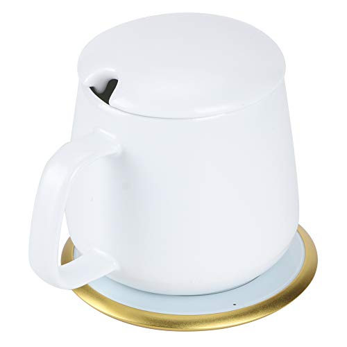 GJHBFUK Cup Warmer Ultrathin Tea Warmer 55℃ Constant Warm Wireless Charge Heating Base With Cup 100‑240V