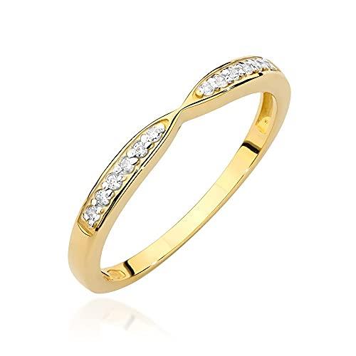 Anillo para mujer 585 de oro de 14 quilates, diamantes naturales y brillantes, 50 (15.9), Diamond,