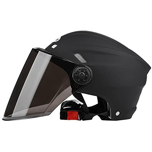 Cascos de Motocicleta Para Hombres y Mujeres, Casco Moto Ciclomotor Cascos Con Visera Reflectante.El Cabezal Anticolisión Protege la Seguridad Vial de Los Usuarios,Negro