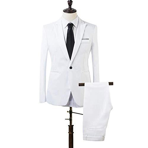 Huaheng 2 Stück Herren Slim Fit Formelle Business Smoking Anzug Mantel Hose Party Hochzeit Ball - Weiß, XL