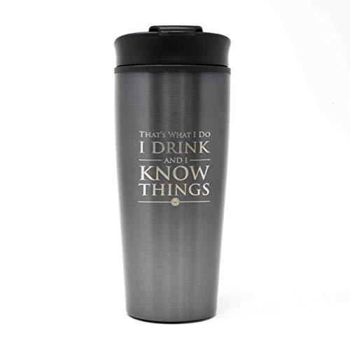 Game of Thrones Metal Travel Mug Coffee-To-Go-Becher Logo grau, bedruckt, aus doppelwandigem Edelstahl.