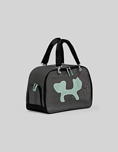 United Pets Mesh Bag Trasportino Morbido per Cani e Gatti, di Design, Borsa/Zaino da Trasporto, Nero/Azzurro
