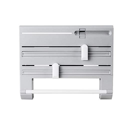 DSFSAEG Estante de almacenamiento de cocina 6 en 1, cortador multifuncional de película de hojalata, almacenamiento de botellas de salsa de montaje en pared (gris)