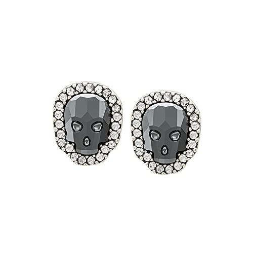Luca + Danni Crystal Pave Skull Stud Earrings in Jet Hematite For Women - Silver - Made in USA