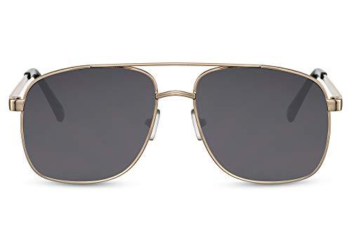 Cheapass Sunglasses Macho Pilot Sonnenbrille Gold Metallrahmen und dunkle Gläser Herren UV400 geschützt