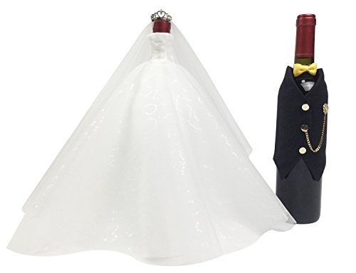Wedding Gifts For the Couple,Bridal Shower Gifts, Bride and Groom Wine Bottle Covers,Wedding Centerpieces Decorations(whitexblack(tuxedo))