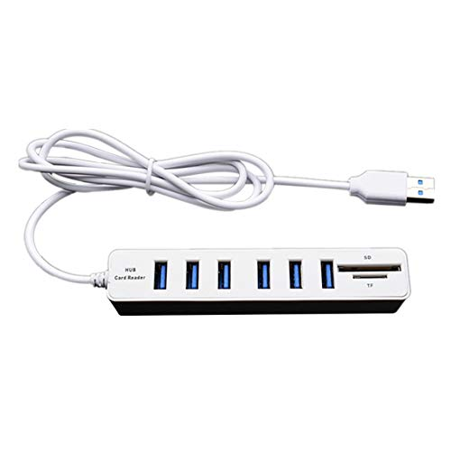 Tree-es-Life Micro USB Hub 2.0 Combo de múltiples Puertos USB SD/TF Lector de Tarjetas Hub Divisor USB Adaptador USB de 3/6 Puertos para Accesorios de computadora Blanco 6 Puertos