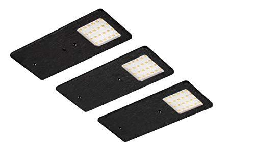 DF-1909 - Juego de 3 lámparas LED para parte inferior de muebles (3 W, con interruptor de intensidad de infrarrojos), color negro