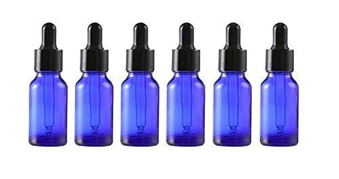 付録代わりにサイレン6Pcs Empty Refillable Blue Glass Essential Oil Dropper Bottles Makeup Cosmetic Sample Container Vial Pots With Glass Eye Dropper and Black Cap(15ml/0.5oz) [並行輸入品]