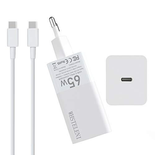 WHSTELENI 65W USB C Cargador GAN Tech para MacBook Pro 13 Huawei Matebook Lenovo ASUS HP DELL Acer Chromebook Alimentación Adaptador iPad iPhone Smartphone con 1.5 m 20V 100W Cable