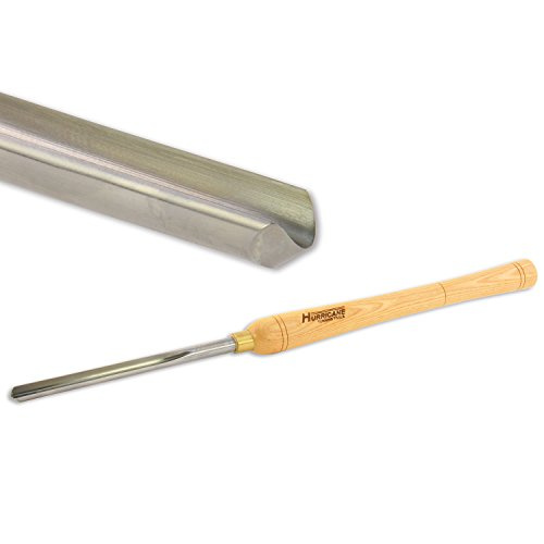 Hurricane Turning Tools, Woodturning Bowl Gouge, High Speed Steel, 1/2 Inches Flute (5/8 Inches Bar Stock)