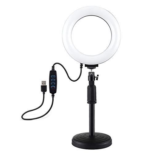 Hanks' shop Selfie Ring Light Adjustable Height: 18cm-28cm, Rhythm Stem Desktop Mount + 6.2 Inch 3 Modes USB Dimmable LED Ring Vlogging Video Light