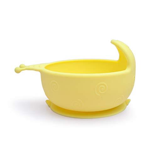 Cuenco de silicona con ventosa para niños, cuchara antigota, cuenco para práctica de comer dibujos animados complementarios 16*9*9cm amarillo