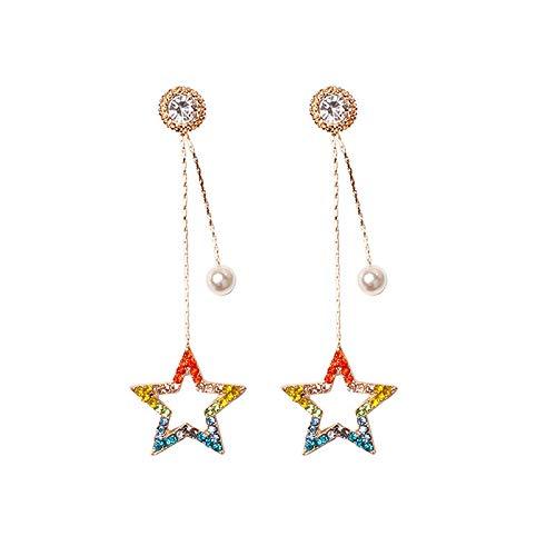 JDWD Pendientes de plata de ley 925 con aguja de temperamento dulce, versátiles, de color de estrella de diamante y perlas de lujo para mujer