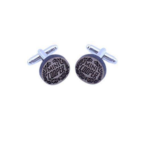 Vault 101 Limited Mini Cooper Anstecker Manschettenknöpfe - Handgemacht Lasergeschnitten Walnussholz Geschenk - Mini Cooper