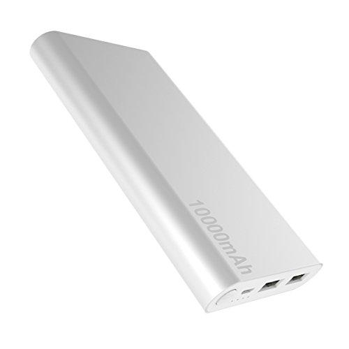 iLogoTech Orime Charger Powerbank 10000mAh externe accu met aluminium behuizing 2-uitgang, mobiele telefoon oplader voor iPhone X 8 8Plus 7 6s 6Plus Samsung Galaxy HTC Huawei Tablets smartphones en meer, zilver