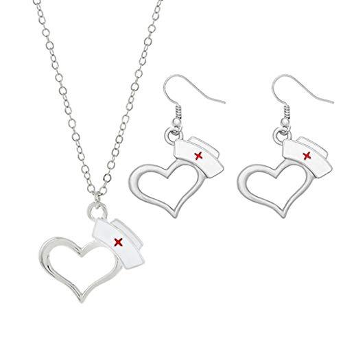 MIORIO 1 Juego Doctor Enfermera símbolo corazón Enfermera Gorra Pendientes Colgante Collar Conjunto de Joyas