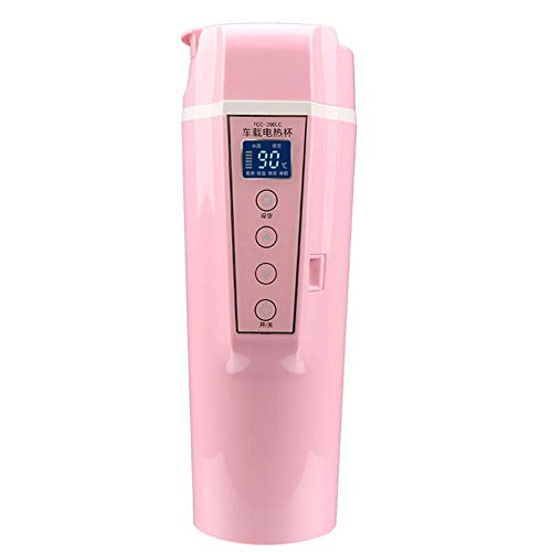 HLJ Viajes de Coches Calefacción Hervidor portátil de Viaje Taza Caldera con el Control de Temperatura Variable for el café/té/Stainles Leche (Color : Pink)