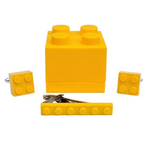 Manschettenknöpfe und Krawattenklammer, handgefertigt aus Lego®-Steinen (gelb) für Hochzeit, Bräutigam, Geburtstag, Geschenkbox