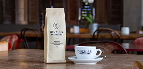 Dinzler Kaffeerösterei - Kaffee Mezzo Bohnen | Nur 50% Koffeingehalt, geringer Koffeingehalt | 250 g Kaffeebohnen