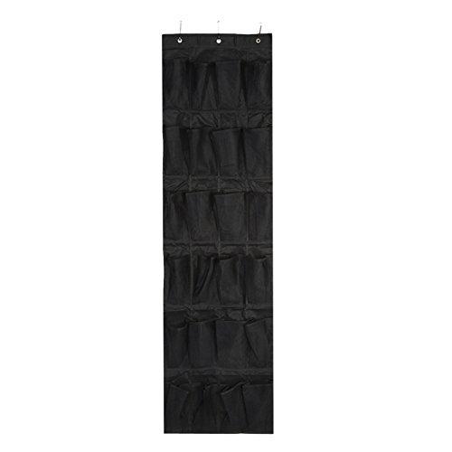 24 tasche scarpiere, nero sopra la porta, da appendere alla parete, porta scarpiera a rete, organizer con 3 ganci per soggiorno, camera da letto, bagno