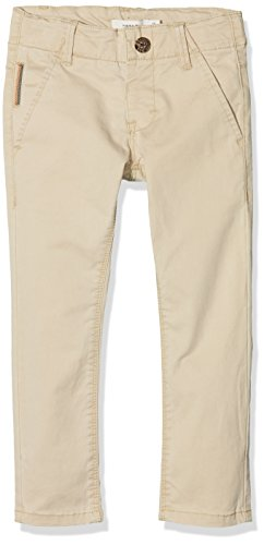 Name It Nittimber Slim/XSL DNM Chino NMT Noos Pantalon, Beige (White Pepper White Pepper), 104 Bébé Fille