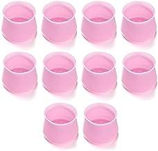 10 Stks Zachte Siliconen Stoel Meubels Been Caps Voeten Ronde Siliconen Transparant Roze Vloer Bescherming Antislip Pad Me...