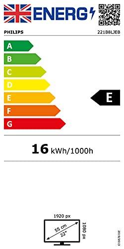 Philips B Line 221B8LJEB/00 54,6 cm (21,5 Zoll) LCD-Monitor (VGA, DI, HDMI, DP, USB, TN Panel, 1920 x 1080 Pixel, Full HD, LCD, 1 ms) schwarz