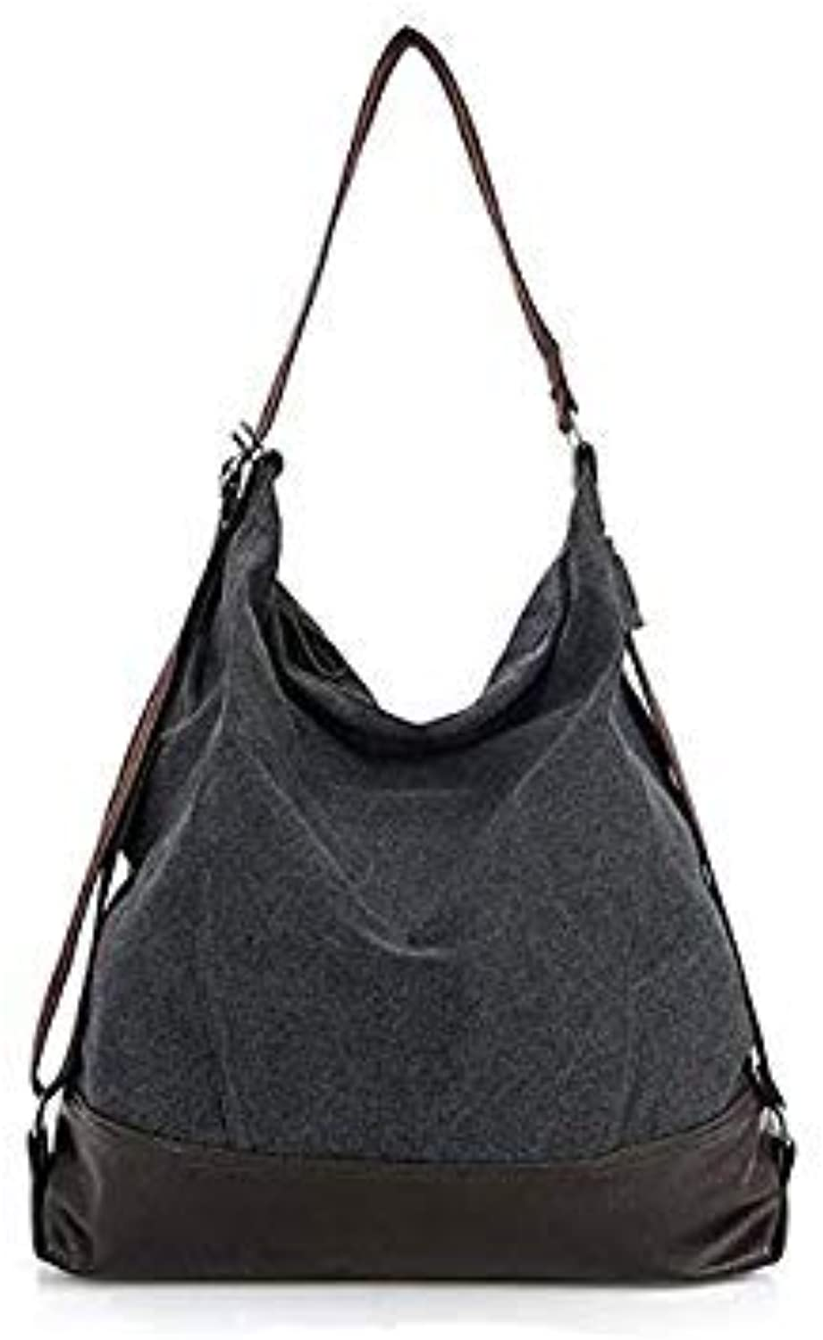 Bloomerang Big Shoulder Bags Fashion Patchwork Women Canvas and Leather Handbags Canvas Tote Bag for Ladies sac a Main Bolsa Feminina color Black