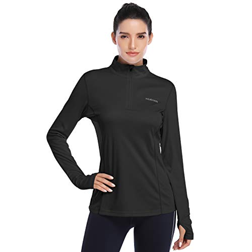 HISKYWIN Womens UPF 50+ Sun Protection Tops Long Sleeve Half-Zip Thumb Hole Outdoor Performance Workout Shirt HF806 Black S
