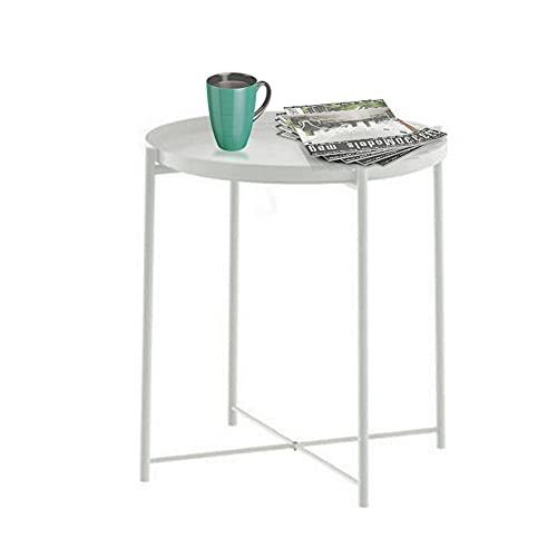 Tavolino vassoio, tavolino rotondo, tavolino da esterno in metallo piccolo divano da caffè, tavolino accento da interno, tavolo rimovibile impermeabile per soggiorno, camera da letto, balcone, bianca
