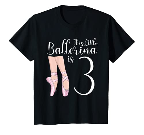 Youth 3 Year Old Ballerina Birthday Party Dance Ballet 3rd Gift T-Shirt
