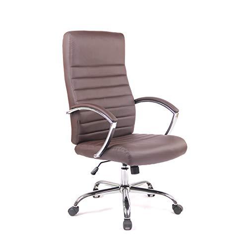 Ramroxx 37939 Chefsessel Bürostuhl Drehstuhl mit Armlehnmen Schreibtischstuhl Braun Chrom