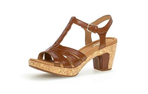 Gabor Damen Sandalen, Frauen Sandaletten,Moderate Mehrweite (G),weiblich,Ladies,Women's,Woman,Sandaletten,Absatz,Camel (Kork/Gold),37.5 EU / 4.5 UK