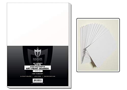 100 White Backing / Sketch Boards by Max Pro (10 7/8' x 14') 24 point thickness - 1 side Kid finish- Great for Sketches or Backing Art