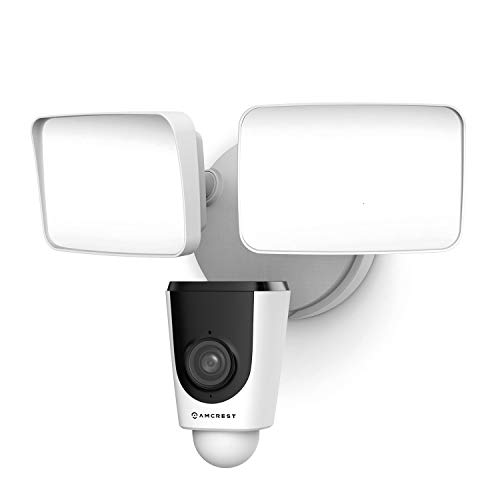 Amcrest Floodlight Camera, Smart Home 1080P Security Outdoor Camera Wireless WiFi with Flood Light, Built-in Siren Alarm, 114° View, IP65 Waterproof, MicroSD & Cloud Storage, ASH26-W