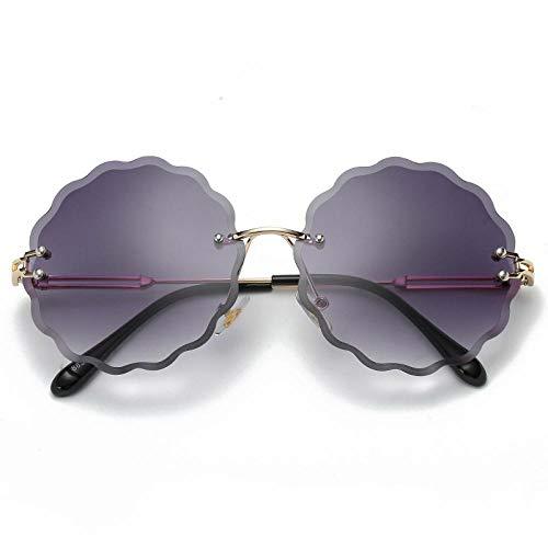 Gafas de Sol Sunglasses Flor Gafas De Sol Redondas Mujeres Montura Sin Montura De Lujo Gafas De Sol Gafas De Sol para Mujer Gafas De Sol Al Aire Libre Gafas De Sol Uv400
