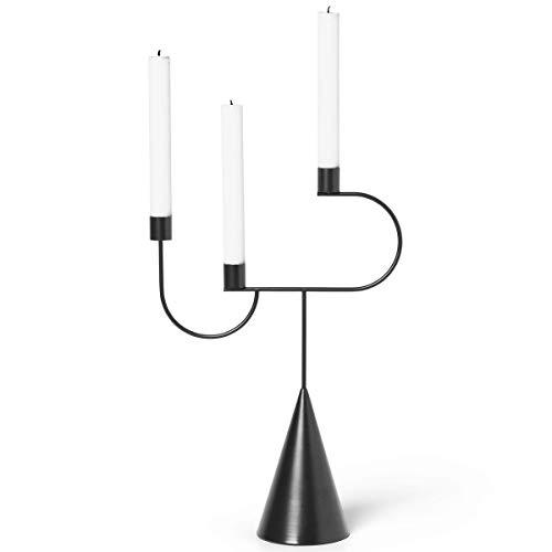 Ferm Living Kerzenständer, Metall, Black, 39x26,5x10