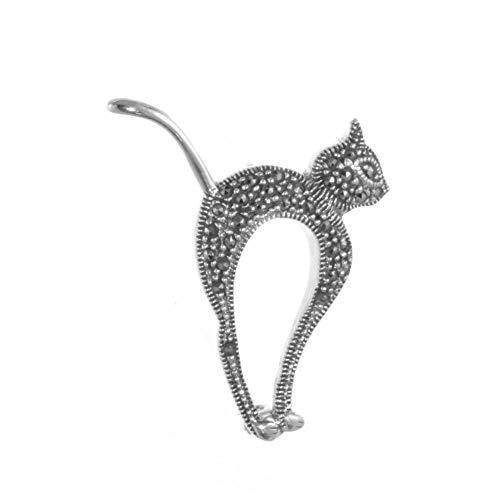 Plata de Ley X joyería: marcasita gato con tachuelas broche (B106)