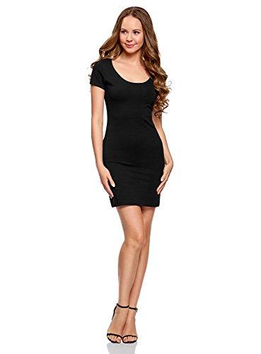 oodji Ultra Damen Enges Kleid aus Baumwolle, Schwarz, DE 34 / EU 36 / XS