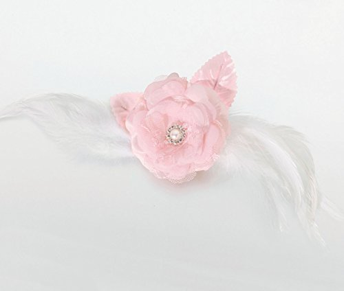 Lillian Rose Lace and Feather Hair Clip/Pin, 9-inch, Pink-P, Tissu, Rose, 36 Degree Beam Angle