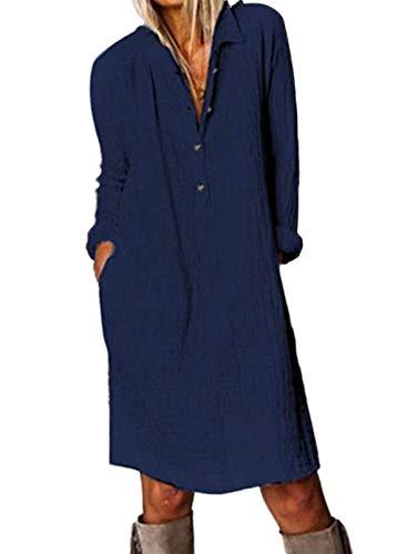 CORAFRITZ Camisas tipo túnica casual para mujer, vestido corto de manga larga, ajuste holgado, con bolsillos para mujer