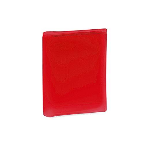 Tarjetera de Plástico PVC Transparente con 6 Compartimentos Práctica Funda para Guardar Tarjetas (Rojo)